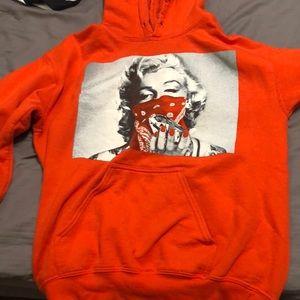 neon orange Marilyn Monroe hoodie
